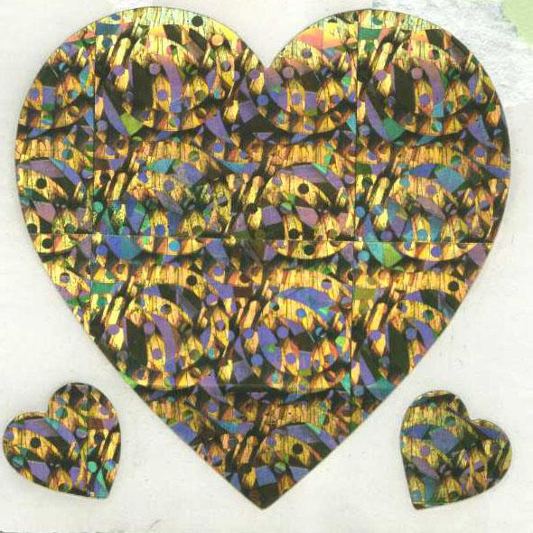 Pack of Sparkly Prismatic Stickers - 3 Hearts