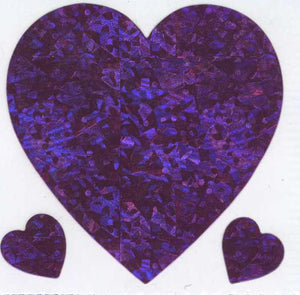 Pack of Prismatic Stickers - 3 Pink Hearts