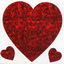 Load image into Gallery viewer, Pack of Prismatic Stickers - 3 Hearts - Red