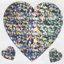 Load image into Gallery viewer, Pack of Prismatic Stickers - 3 Hearts - Silver