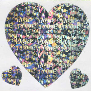 Pack of Prismatic Stickers - 3 Hearts - Silver