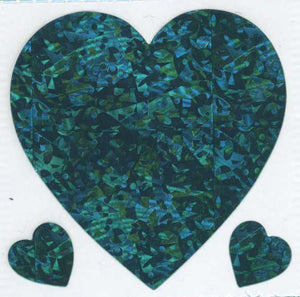 Pack of Prismatic Stickers - 3 Turquoise Hearts