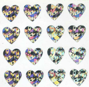 Pack of Prismatic Stickers - Multi Silver Hearts