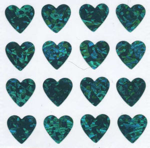 Pack of Prismatic Stickers - Multi Turquoise Hearts