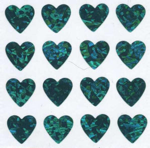 Pack of Sparkly Prismatic Stickers - 16 Hearts