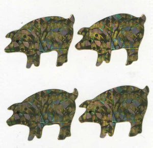 Pack of Prismatic Stickers - 4 Gold Pigs