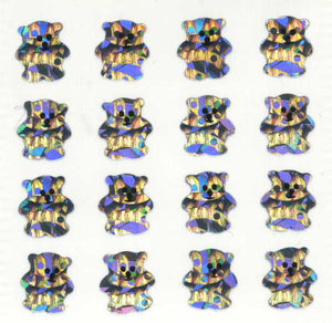 Pack of Prismatic Stickers - Micro Silver Teddies