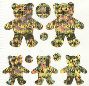 Pack of Sparkly Prismatic Stickers - 5 Teddy Bears