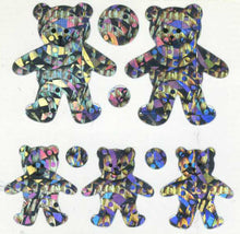 Load image into Gallery viewer, Pack of Prismatic Stickers - 5 Silver Teddies