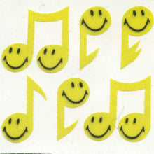 Load image into Gallery viewer, Pack of Silkie Stickers - Smiley Musical Notes