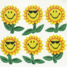 Load image into Gallery viewer, Pack of Silkie Stickers - Smiley Sunflowers