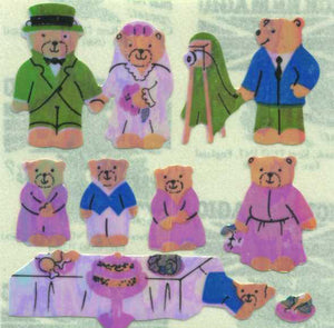 Pack of Pearlie Stickers - Micro Teddy Wedding