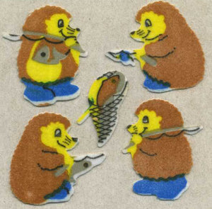 Pack of Furrie Stickers - Fishing Hedgehogs