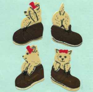 Pack of Paper Stickers - Puppies In Shoes