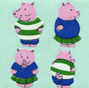 Pack of Paper Stickers - Boy & Girl Piggies