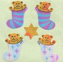 Load image into Gallery viewer, Pack of Pearlie Stickers - Bear In Stocking