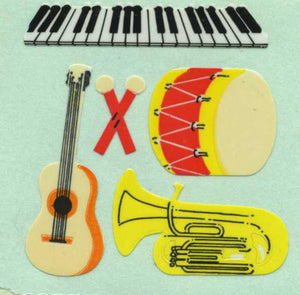 Pack of Paper Stickers - Drum, Piano and Guitar