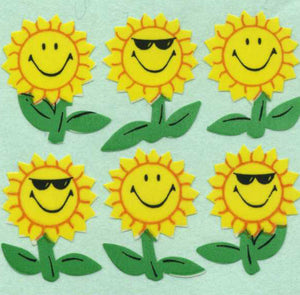 Pack of Paper Stickers - Smiley Sunflowers