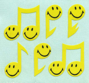 Pack of Paper Stickers - Smiley Musical Notes