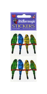 Pack of Prismatic Stickers - Budgies On Perch