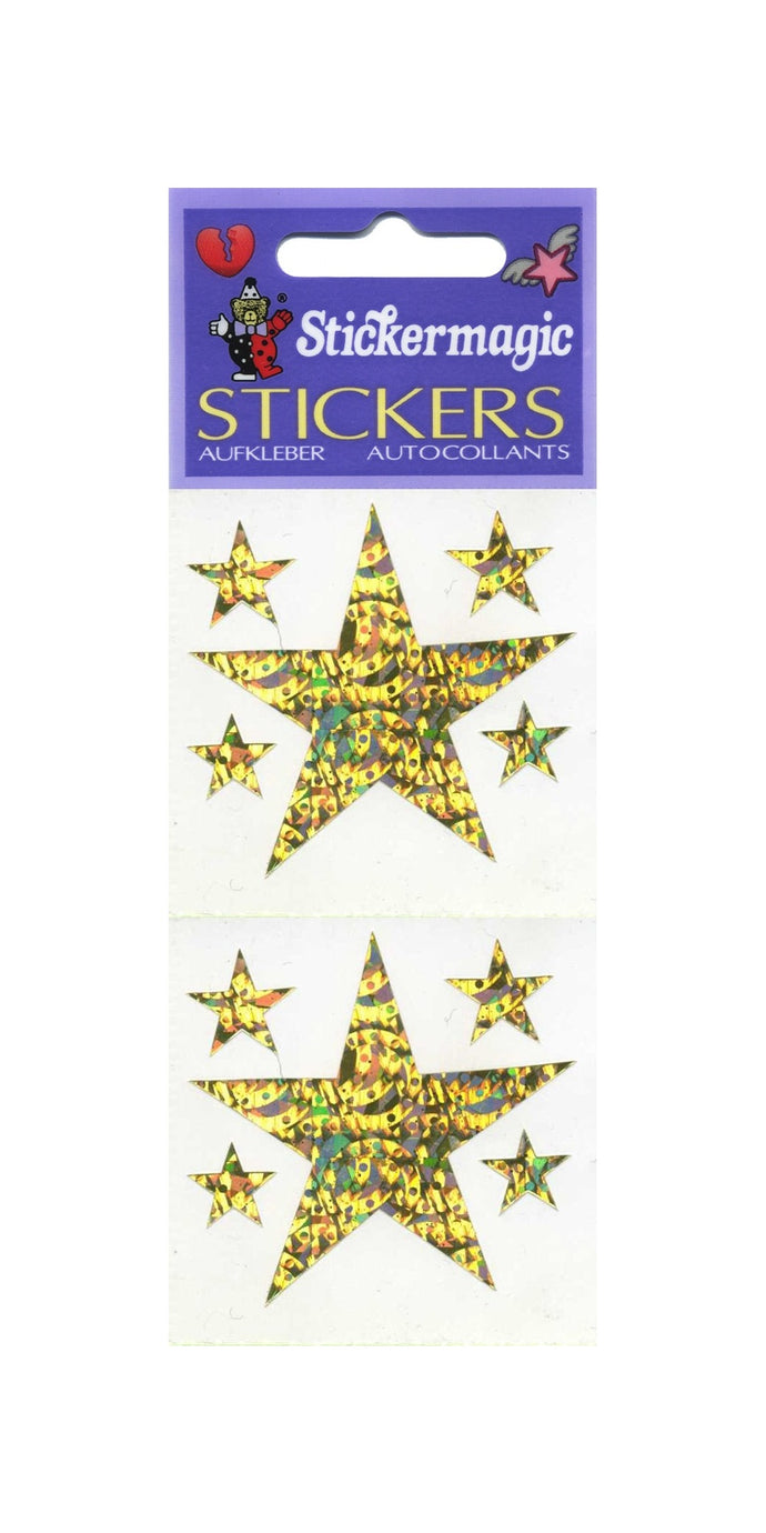 Pack of Prismatic Stickers - 5 Gold Stars
