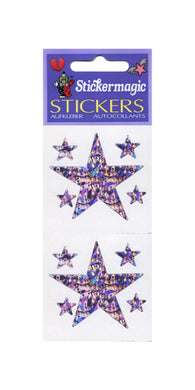 Pack of Prismatic Stickers - 5 Purple Stars