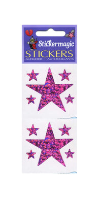 Pack of Prismatic Stickers - 5 Pink Stars