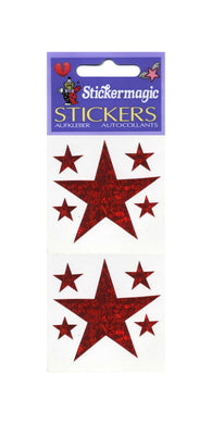 Pack of Prismatic Stickers - 5 Red Stars