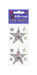 Pack of Prismatic Stickers - 5 Silver Stars
