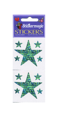 Pack of Prismatic Stickers - 5 Green Stars
