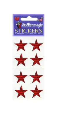 Pack of Prismatic Stickers - 4 Red Stars