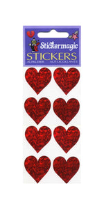 Pack of Prismatic Stickers - 4 Hearts - Red