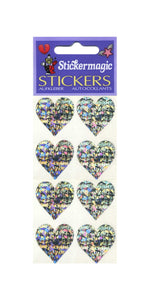 Pack of Prismatic Stickers - 4 Hearts - Silver