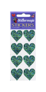 Pack of Sparkly Prismatic Stickers - 4 Hearts