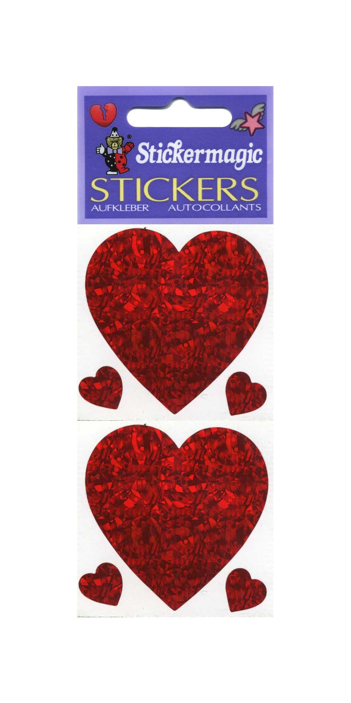 Pack of Prismatic Stickers - 3 Hearts - Red