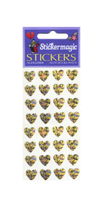 Pack of Prismatic Stickers - Multi Gold Hearts