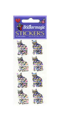 Pack of Prismatic Stickers - 4 Silver Cats