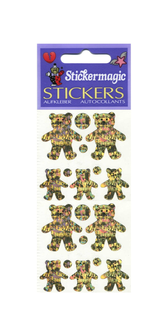 Pack of Prismatic Stickers - 5 Gold Teddies