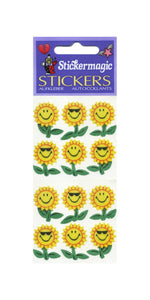 Pack of Silkie Stickers - Smiley Sunflowers