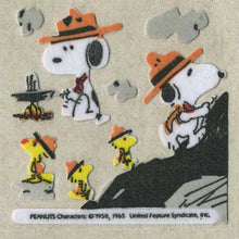 Load image into Gallery viewer, Pack of Furrie Stickers - Snoopy and Woodstock Camping