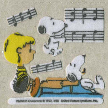 Load image into Gallery viewer, Pack of Furrie Stickers - Snoopy with Schroeder and Piano