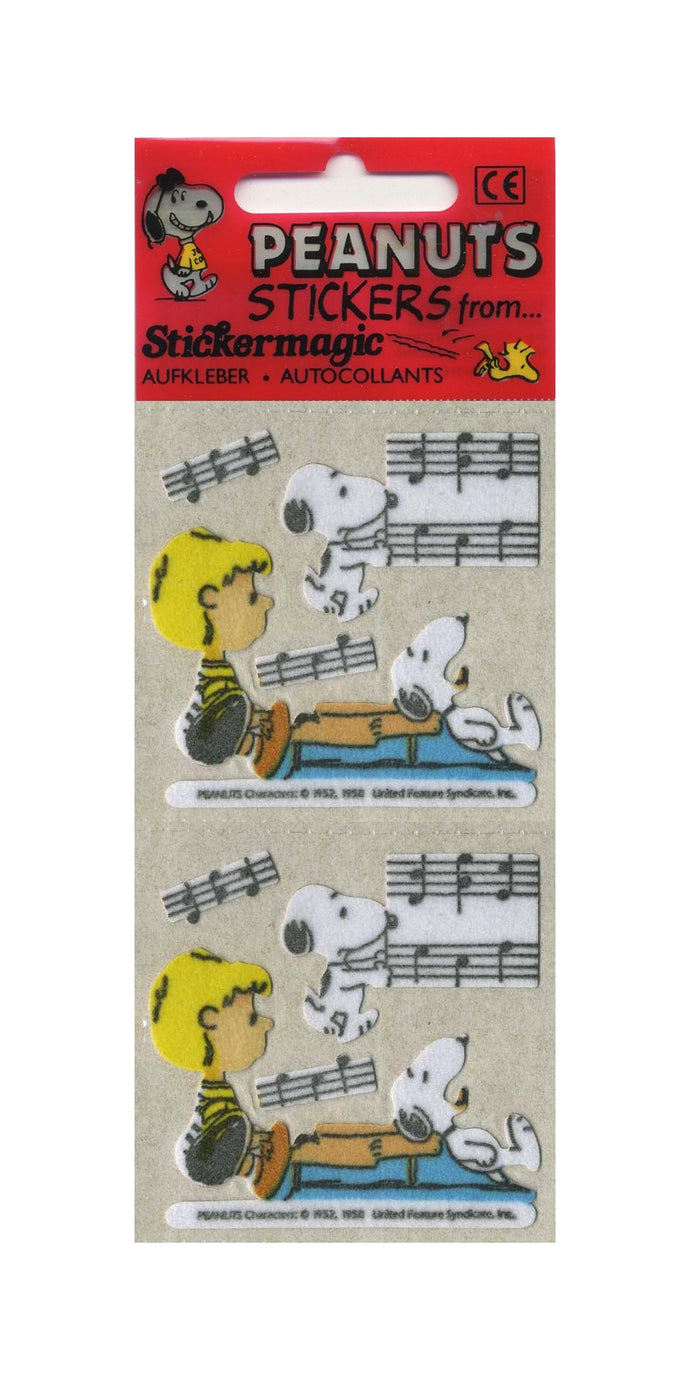 Pack of Furrie Stickers - Snoopy with Schroeder and Piano