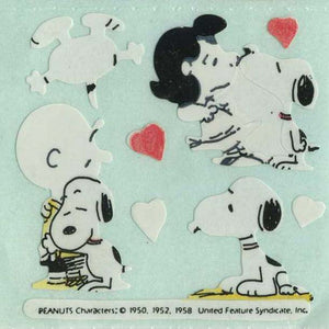 Pack of Paper Stickers - Snoopy Kissing Lucy