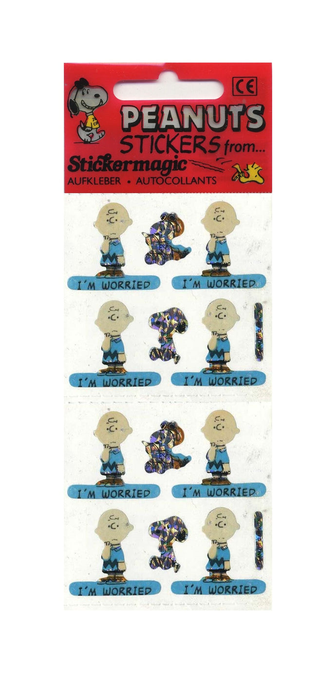 Pack of Prismatic Stickers - Charlie Brown I'm Worried