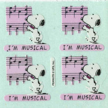 Load image into Gallery viewer, Pack of Paper Stickers - Snoopy I'm Musical