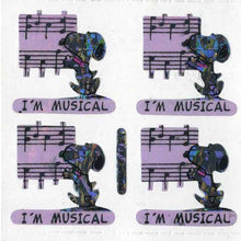 Load image into Gallery viewer, Pack of Prismatic Stickers - Snoopy I'm Musical