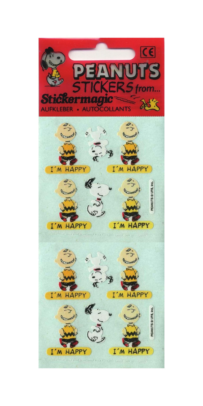 Pack of Paper Stickers - Charlie Brown I'm Happy