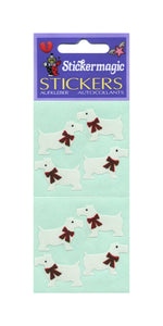 Pack of Paper Stickers - White Scottie Dogs