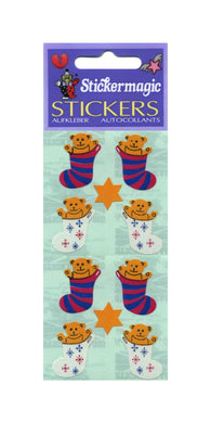 Pack of Paper Stickers - Bear In Stocking