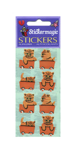 Pack of Paper Stickers - Kittens In Train